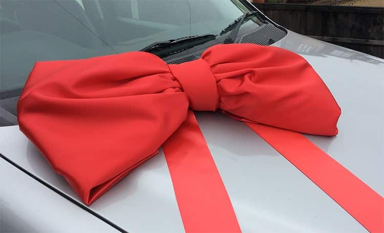 Shoelace Style Red Satin Bow