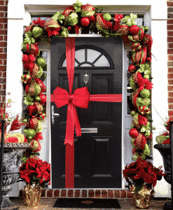 Decorate your door with our beautiful red satin door bow - this package includes ribbon to wrap your entrance, along with full instructions