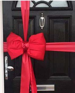Red Satin Padded Door Bow Decorating Pack Each Big Car