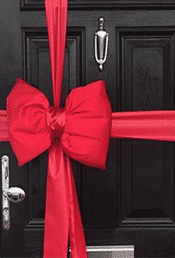 Red satin door bow