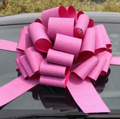 Glitter Pink Foil Giant Bow Ribbon