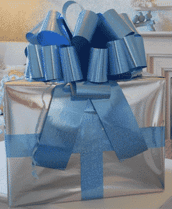 MEGA Blue Holographic Giant Car Bow - 42cm with 6m Ribbon